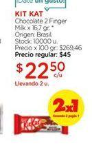 Oferta de Chocolate 2 finger milk x 16,7gr KIT KAT  por $22,5
