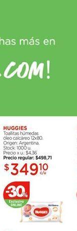 Oferta de Toallitas húmedas oleo calcareo Huggies por $349,1