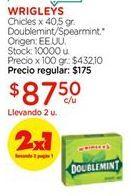 Oferta de Chicles x 40,5gr doublemint/spearmint WRIGLEYS  por $87,5