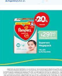 Oferta de Pañales Pampers Supersec Megapack por $291,6
