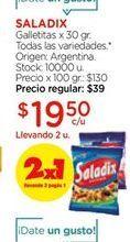 Oferta de Galletitas x 30gr todas las variedades SALADIX  por $19,5