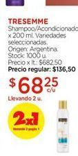 Oferta de Shampoo/acondicionador Tresemmé 200ml por $68,25