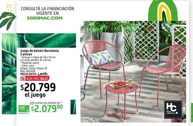 Oferta de Juego de balcon Barcelona 3 piezas por $20199