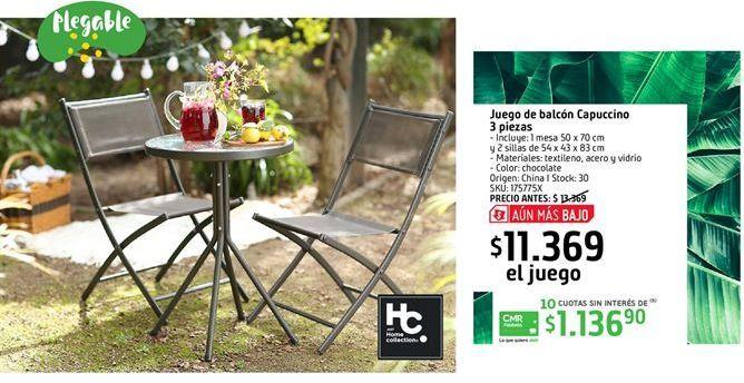 Oferta de Juego de balcon Capuccino 3 piezas por $11369