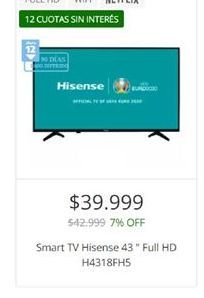 Oferta de Smart tv led 43'' Hisense full hd por $39999
