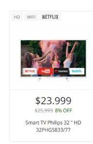 Oferta de Smart tv led 32'' Philips HD  por $23999