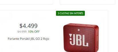 Oferta de Parlantes portatil JBL GO 2 rojo  por $4499
