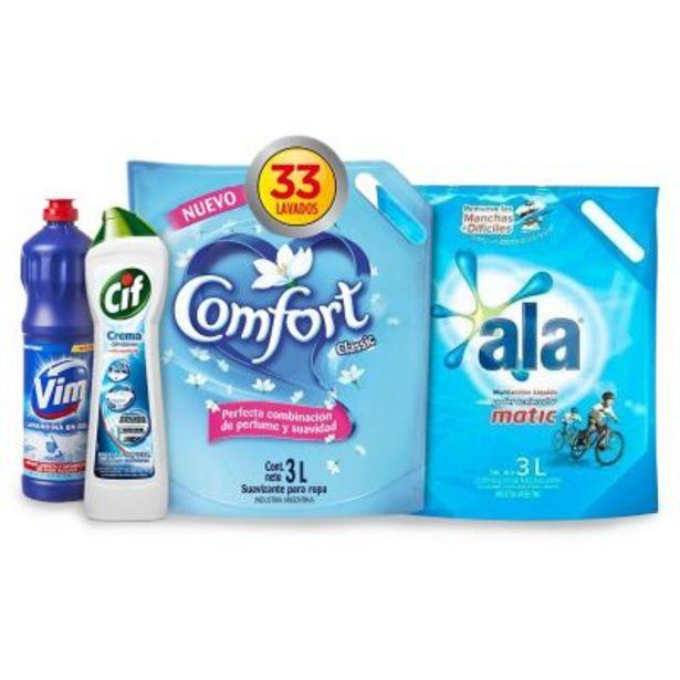 Oferta de Combo jabón liquido + suavizante + lavandina + desinfectante por $999