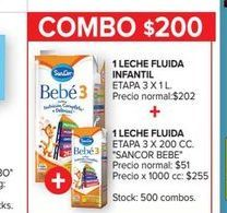 Oferta de Leche fluida infantil etapa 3 x 1lt + 1 leche fluida etapa 3 x 200cc SANCOR BEBE  por $200