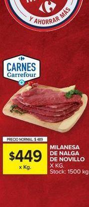 Oferta de Milanesa DE NALGA DE NOVILLO  por $449