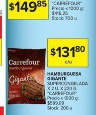 Oferta de Hamburguesas Gigante supercongelada x 2un. x 220gr CARREFOUR  por $131,8