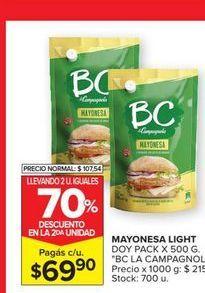 Oferta de Mayonesa light BC doypack x 500grs por $69,9