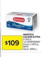 Oferta de Manteca calidad extra La Serenísima x 200gr por $109