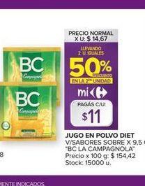 Oferta de Jugo en polvo Diet v/sabores sobre BC LA CAMPAGNOLA  por $11