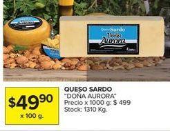 Oferta de Queso sardo DOÑA AURORA  por $49,9
