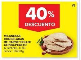 Oferta de Milanesas congeladas de carne/pollo/cerdo peceto a granel x kg por