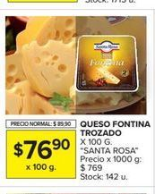Oferta de Queso fontina trozado x 100gr SANTA ROSA  por $76,9