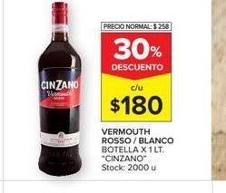 Oferta de Vermouth rosso/blanco botella x 1lt  CINZANO por $180