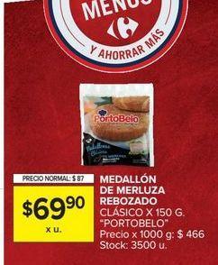 Oferta de Medallon de merluza rebozado clásico x 150gr PORTOBELO  por $69,9
