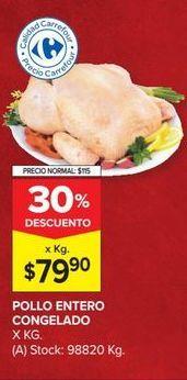 Oferta de Pollo entero congelado x kg  por $79,9