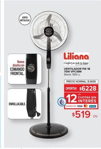 Oferta de Ventilador pie 18 75w Liliana  por $519