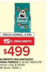 Oferta de Alimento balanceado para perros x 10kg MATUTE  por $499