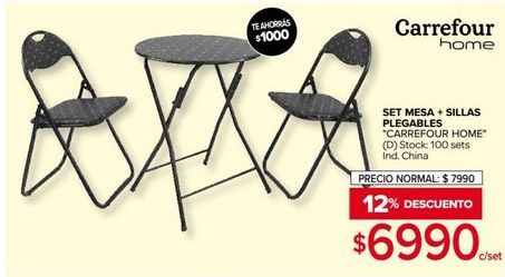 Oferta de Set mesa + sillas plegables Carrefour home por $6990