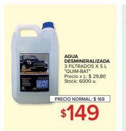 Oferta de Agua desmineralizada 3 filtrados x 5lt  por $149