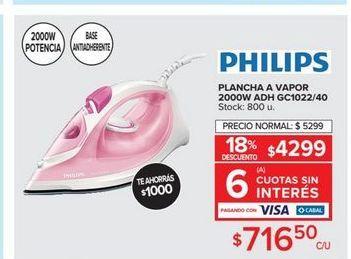 Oferta de Plancha a vapor Philips por $716,5