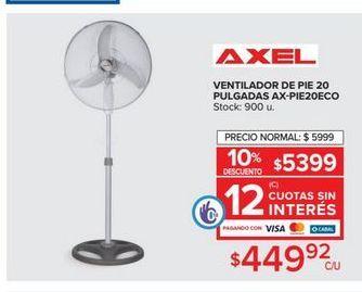 Oferta de Ventilador de pie  20 pulgadas Axel por $449,92