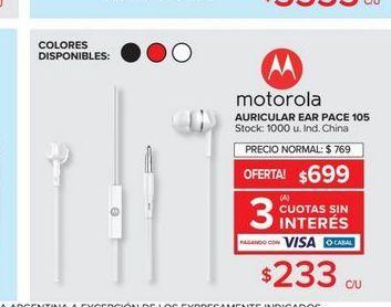 Oferta de Auriculares Motorola por $233
