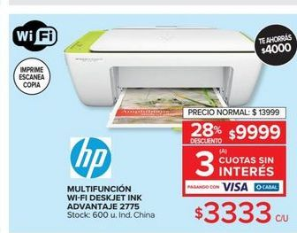 Oferta de Impresora multifunción wifi deskjet ink advantaje  por $3333