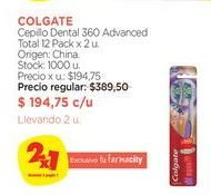 Oferta de Cepillo Dental 360 Advanced Total 12 Pack x 2 u. Colgate por $194,75