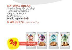 Oferta de Snack x 30 gr./24 gr./27 gr. Natural Break por $49,5