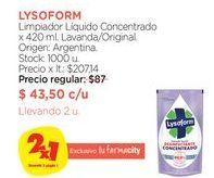 Oferta de Limpiador Líquido Concentrado x 420 ml. Lysoform por $43,5
