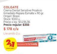 Oferta de Crema Dental Sensitive Proalivio Inmediato Repara Esmalte x 110 gr. Colgate por $178