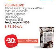 Oferta de Jabón Líquido Doypack x 200 ml. VILLENUEVE por $73,5
