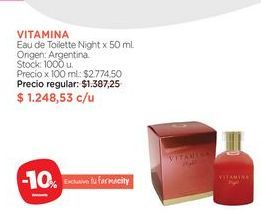 Oferta de Eau de Toilette Night x 50 ml. VITAMINA por $1248,53