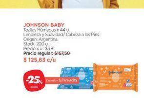 Oferta de Toallas Húmedas x 44 u. Johnson's Baby por $125,63