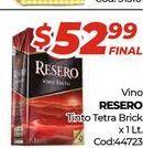 Oferta de Vino Resero tinto tetra brick x 1lt  por $52,99