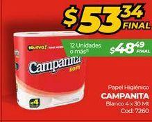 Oferta de Papel higiénico Campanita blanco 4 x 30mt  por $53,34