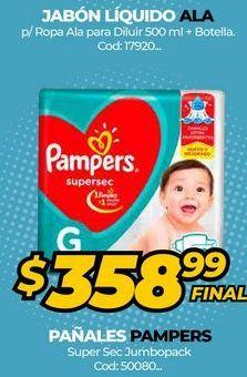 Oferta de Pañales Pampers super sec jumbopack  por $358,99