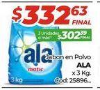 Oferta de Jabon en polvo Ala x 3kg por $332,63