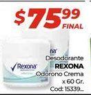 Oferta de Desodorante Rexona odorono crema x 60gr  por $75,99