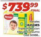 Oferta de Pañales Huggies triple proteccion mes de consumo  por $739,99
