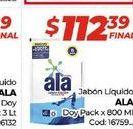Oferta de Jabón líquido Ala doypack x 800ml  por $112,39