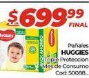 Oferta de Pañales Huggies triple proteccion mes de consumo  por $699,99