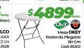 Oferta de Mesa Okey redonda plegable 80cm por $4899