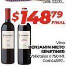Oferta de Vino Benjamín Nieto Senetiner varietales x 750ml  por $148,79