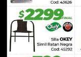 Oferta de Silla OKEY SIMIL RATAN NEGRA  por $2299